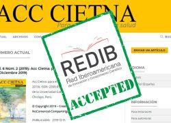 """La revista digital """"Acc Cietna: para el cuidado de la salud"""" obtuvo su indexación a REDIB (Red Iberoamericana de Innovación y Conocimiento Científico)"""