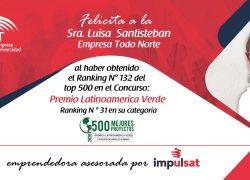 Proyecto asesorado por Impulsat es reconocido como uno de los mejores del concurso Premio Latinoamérica Verde