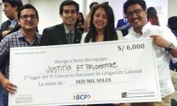 Equipo de la Facultad de Derecho campeona en el IV Concurso Nacional de Litigación Laboral